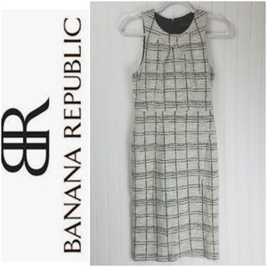 Banana Republic Tweed Cream Gray Plaid Wrap Dress